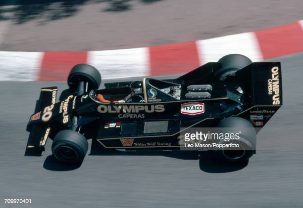 James Hunt of Great Britain driving a Wolf WR7 with a Ford V8 engine for Olympus Cameras Wolf Racing in action during the Formula One Monaco Grand...