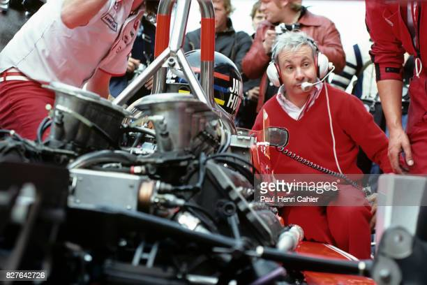 James Hunt Teddy Mayer McLarenFord M26 Grand Prix of Netherlands Zandvoort 27 August 1978 McLaren team manager Teddy Mayer discussing settings with...