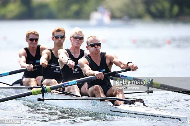 James Hunter Alistair Bond James Lassche and Curtis Rapley of New Zealand compete in the Lightweight Men's Four Semifinal during Day 2 of the 2015...