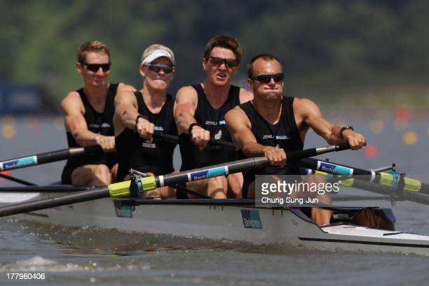 James Hunter James Lassche Peter Taylor and Curtis Rapley of New Zealand compete in the Lightweight Men's Four during day two of the 2013 World...