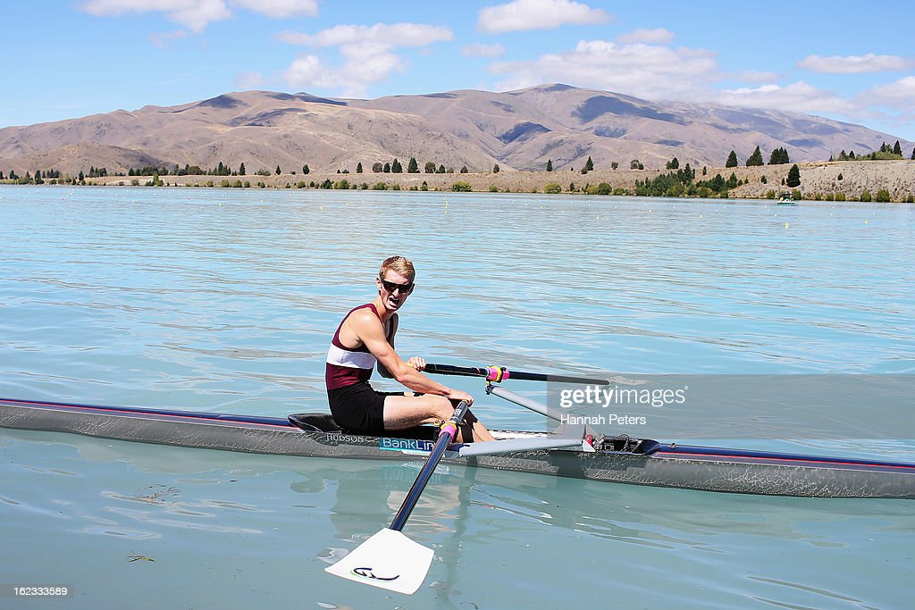 James Hunter of Central competes in the Men's U22 1X final during the New Zealand Rowing Championships at Lake Ruataniwha on February 22, 2013 in Twizel, New Zealand.