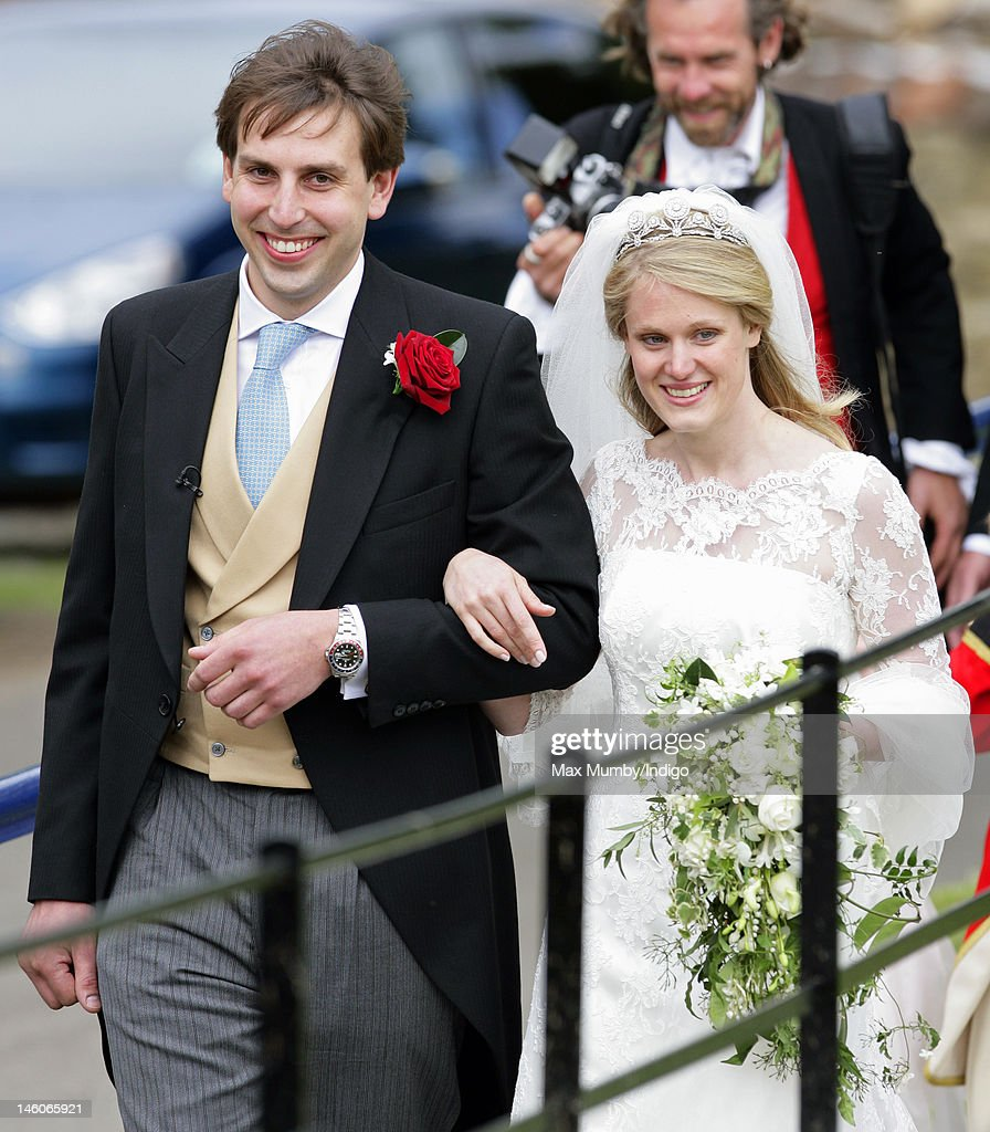 James Hutt and Emily McCorquodale leave The Church of St Andrew and St Mary, Stoke Rochford after their wedding on June 9, 2012 in Grantham, England.