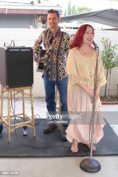 James Intveld performs at Pamela Des Barres 69th birthday party at Des Barres home in Van Nuys California on September 16 2017