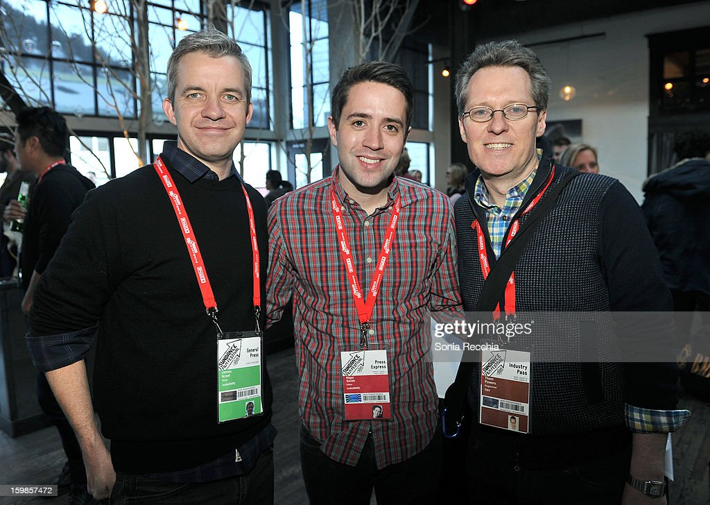 James Israel of IndieWire, Nigel Smith of Indie Wire and Thom Powers of TIFF attend the Film Independent Sundance Reception at Riverhorse Cafe during the 2013 Sundance Film Festival on January 21, 2013 in Park City, Utah.