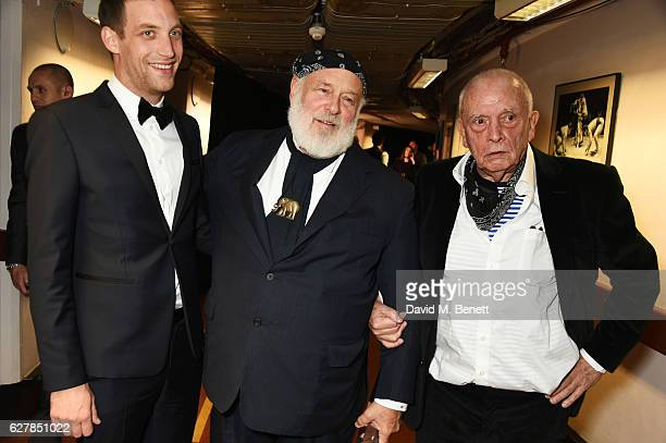 James Jagger Bruce Weber winner of the Isabella Blow Award for Fashion Creator and David Bailey pose backstage at The Fashion Awards 2016 at Royal...