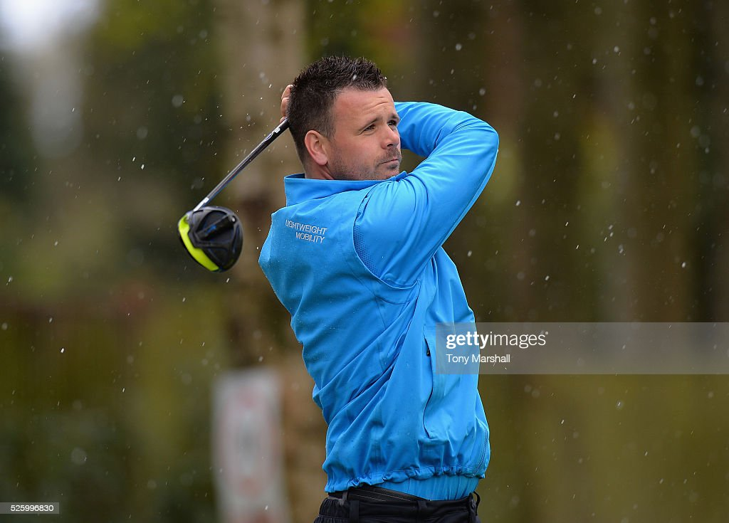 James Jarvis of Oakmere Park Golf Club plays his first shot on the 1st tee during the PGA Professional Championship - Midland Qualifier at Little Aston Golf Club on April 29, 2016 in Sutton Coldfield, England.