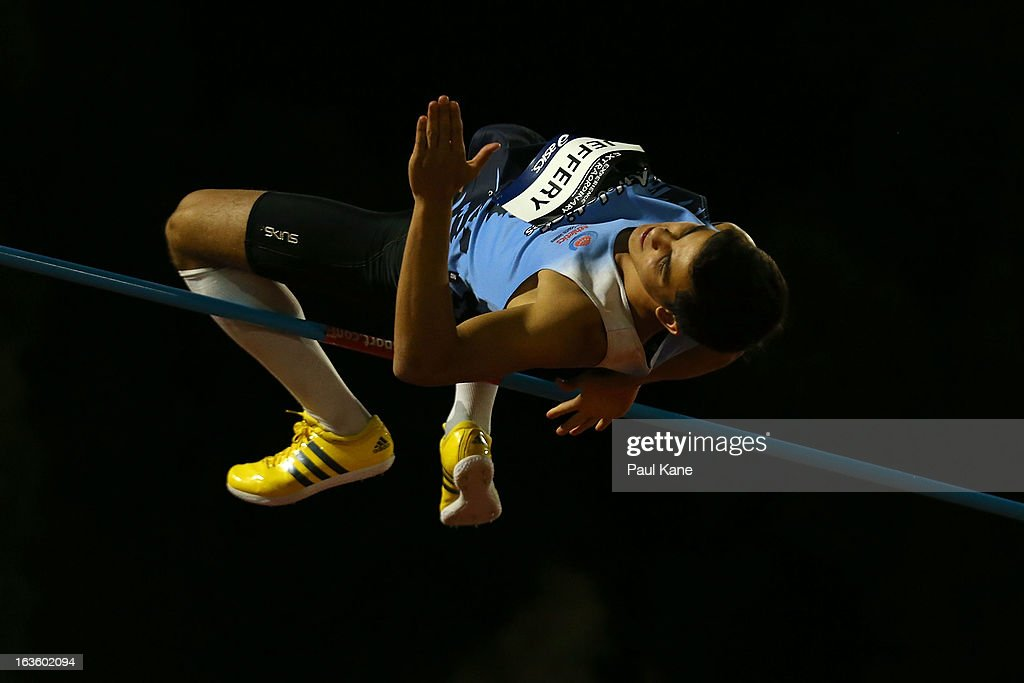 James Jeffery of New South Wales competes in the men's u18 high jump during day two of the Australian Junior Championships at the WA Athletics Stadium on March 13, 2013 in Perth, Australia.