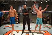 James Jenkins celebrates his victory over Brennan Sevin during the elimination fights at the UFC TUF Gym on July 17 2015 in Las Vegas Nevada