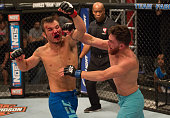 James Jenkins exchanges punches with Brennan Sevin during the elimination fights at the UFC TUF Gym on July 17 2015 in Las Vegas Nevada
