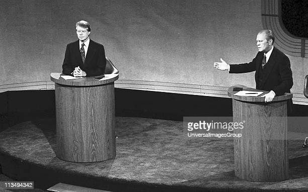 James 'Jimmy' Carter and Gerald Ford taking part in the first televised debate between candidates for the post of President of the United States...