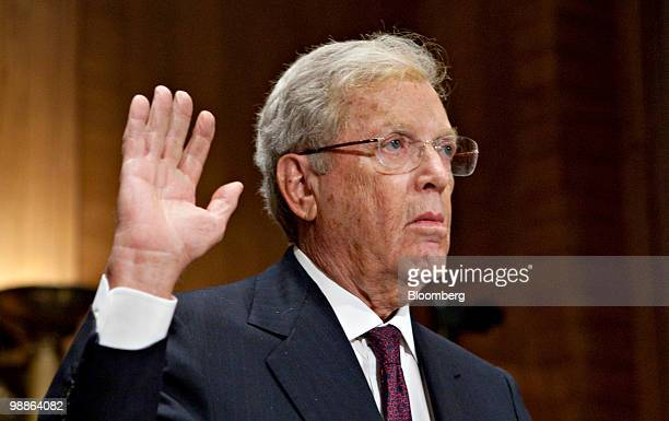 James 'Jimmy' Cayne former chairman and chief executive officer of Bear Stearns Cos swears in to testify during a Financial Crisis Inquiry Commission...