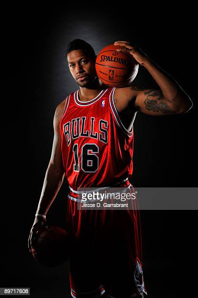 James Johnson of the Chicago Bulls poses for a portrait during the 2009 NBA Rookie Photo Shoot on August 9 2009 at the MSG Training Facility in...