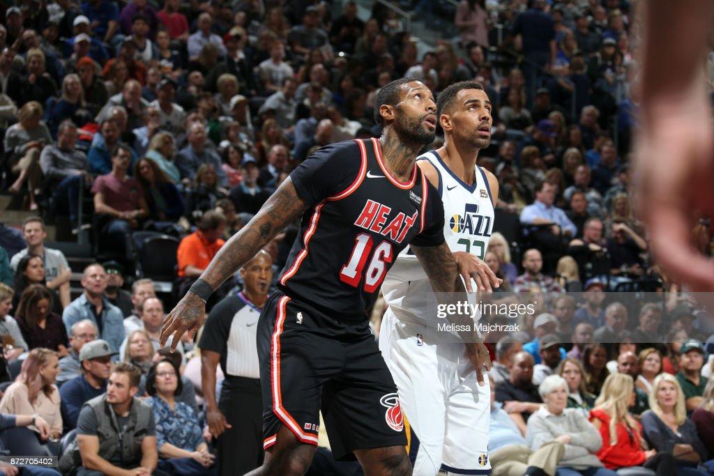 James Johnson #16 of the Miami Heat and Thabo Sefolosha #22 of the Utah Jazz react to the ball on November 10, 2017 at Vivint Smart Home Arena in Salt Lake City, Utah.