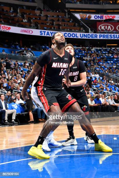James Johnson of the Miami Heat boxes out the Orlando Magic during the game between the two teams on October 18 2017 at Amway Center in Orlando...