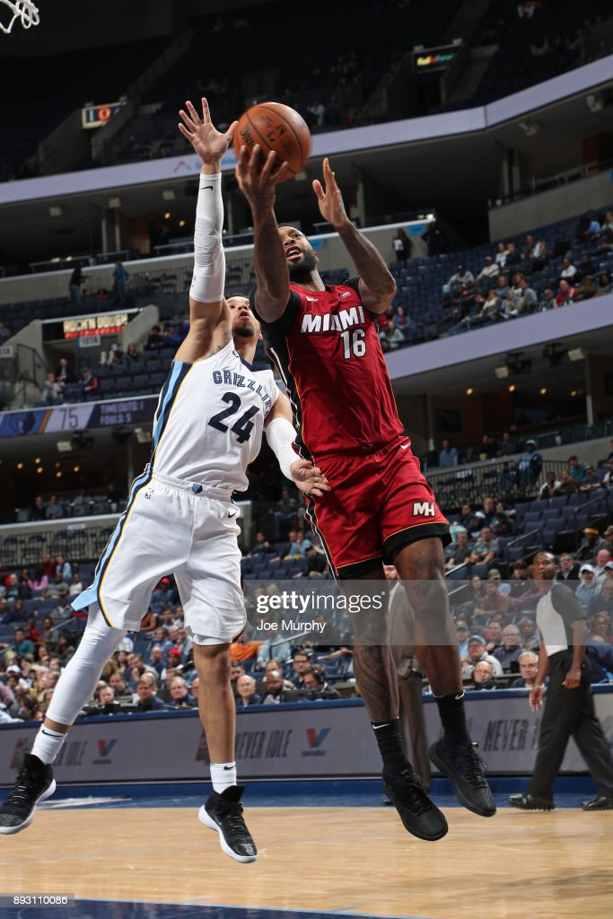 James Johnson #16 of the Miami Heat goes for a lay up against the Memphis Grizzlies on December 11, 2017 at FedExForum in Memphis, Tennessee.