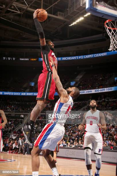 James Johnson of the Miami Heat goes to the basket against the Detroit Pistons on March 28 2017 at The Palace of Auburn Hills in Auburn Hills...