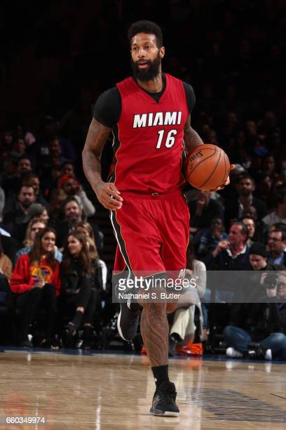 James Johnson of the Miami Heat handles the ball against the New York Knicks on March 29 2017 at Madison Square Garden in New York City New York NOTE...