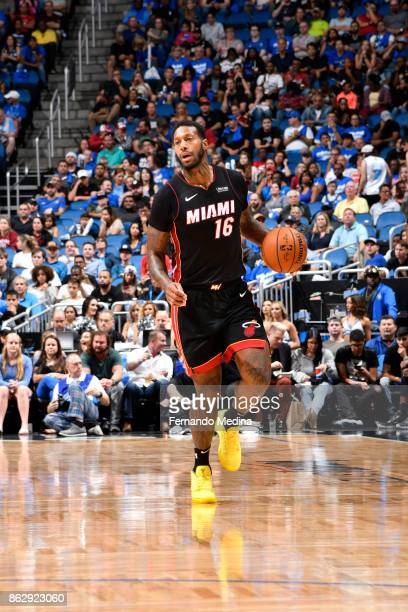 James Johnson of the Miami Heat handles the ball during the game against the Orlando Magic on October 18 2017 at Amway Center in Orlando Florida NOTE...