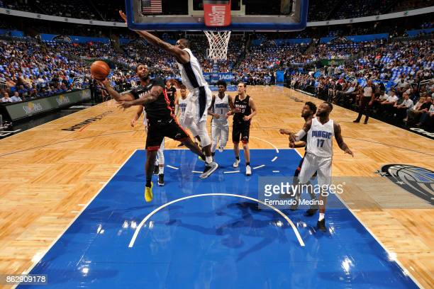 James Johnson of the Miami Heat shoots the ball during the game against the Orlando Magic on October 18 2017 at Amway Center in Orlando Florida NOTE...