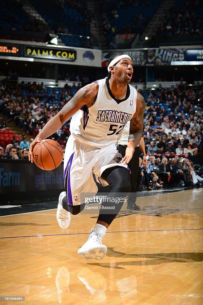 James Johnson #52 of the Sacramento Kings drives to the basket against the Phoenix Suns on January 23, 2013 at Sleep Train Arena in Sacramento, California.