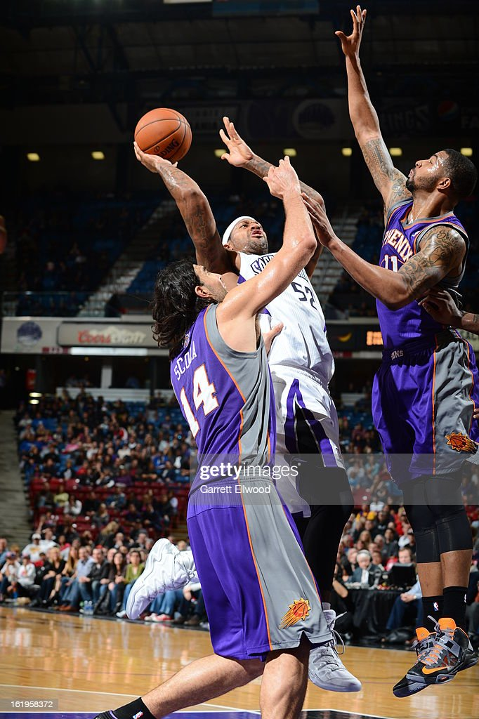 James Johnson #52 of the Sacramento Kings drives to the basket against the Phoenix Suns January 23, 2013 at Sleep Train Arena in Sacramento, California.
