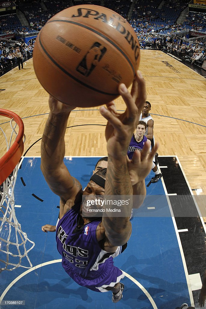 James Johnson #52 of the Sacramento Kings drives to the basket against the Orlando Magic on February 27, 2013 at Amway Center in Orlando, Florida.