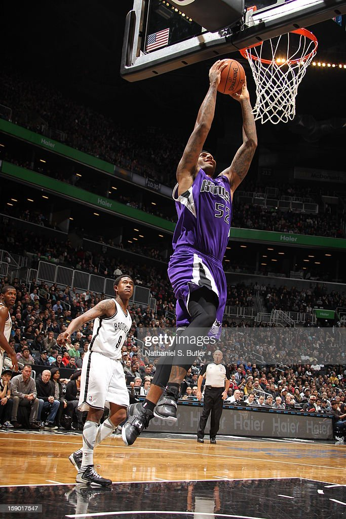 James Johnson #52 of the Sacramento Kings dunks against the Brooklyn Nets on January 5, 2013 at the Barclays Center in the Brooklyn borough of New York City.