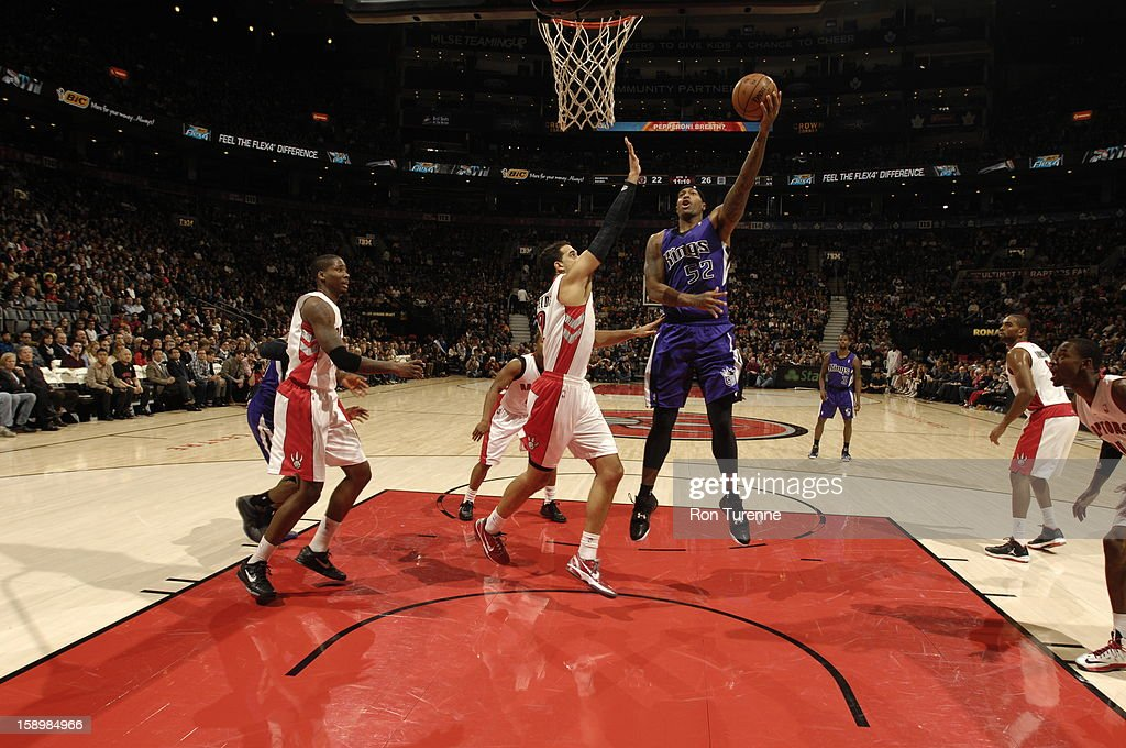 James Johnson #52 of the Sacramento Kings goes up for a shot against the Toronto Raptos during the game on January 4, 2013 at the Air Canada Centre in Toronto, Ontario, Canada.