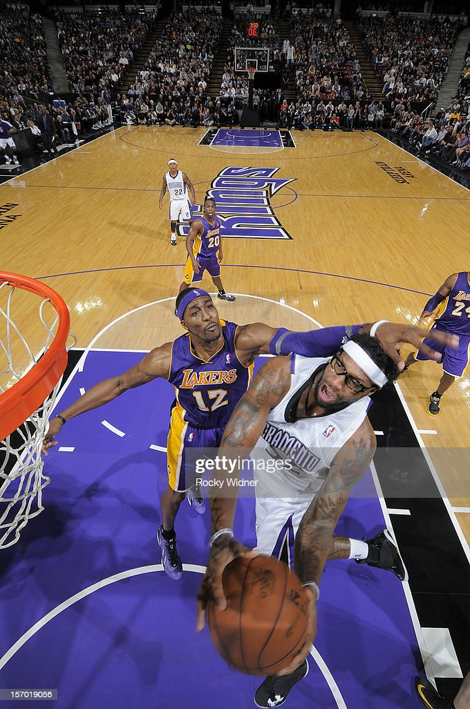 James Johnson #52 of the Sacramento Kings goes up for the shot against <a gi-track='captionPersonalityLinkClicked' href=/galleries/search?phrase=Dwight+Howard&family=editorial&specificpeople=201570 ng-click='$event.stopPropagation()'>Dwight Howard</a> #12 of the Los Angeles Lakers on November 21, 2012 at Sleep Train Arena in Sacramento, California.