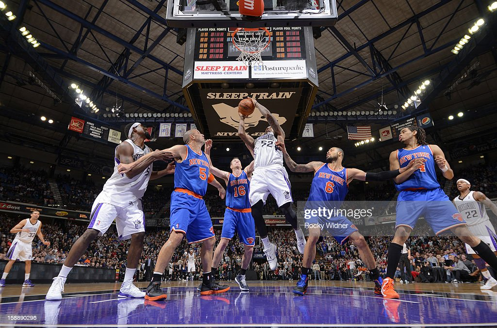 James Johnson #52 of the Sacramento Kings goes up for the shot against <a gi-track='captionPersonalityLinkClicked' href=/galleries/search?phrase=Jason+Kidd&family=editorial&specificpeople=201560 ng-click='$event.stopPropagation()'>Jason Kidd</a> #5, <a gi-track='captionPersonalityLinkClicked' href=/galleries/search?phrase=Steve+Novak&family=editorial&specificpeople=693015 ng-click='$event.stopPropagation()'>Steve Novak</a> #16, and Tyson Chandler #6 of the New York Knicks on December 28, 2012 at Sleep Train Arena in Sacramento, California.