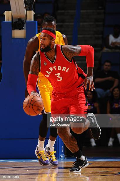 James Johnson of the Toronto Raptors brings the ball up court against the Los Angeles Lakers during a preseason game on October 8 2015 at Citizens...