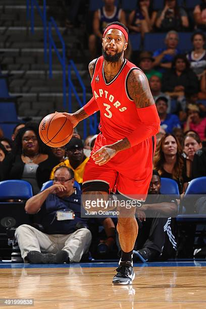 James Johnson of the Toronto Raptors dribbles the ball against the Los Angeles Lakers during a preseason game on October 08 2015 at Citizens Bank...