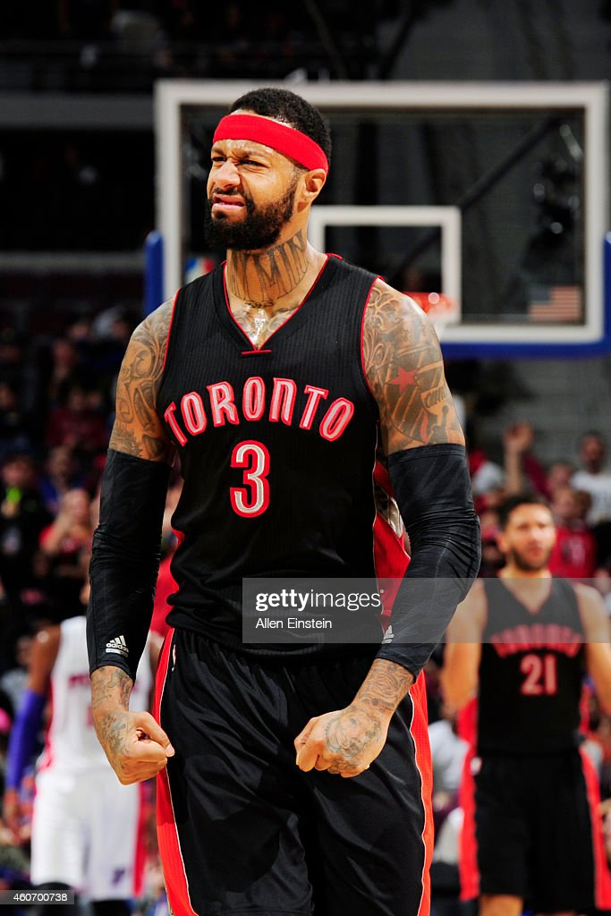 James Johnson #3 of the Toronto Raptors during the game against the Detroit Pistons on December 19, 2014 at Palace of Auburn Hills in Detroit, Michigan.