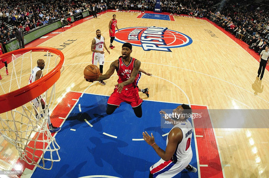 <a gi-track='captionPersonalityLinkClicked' href=/galleries/search?phrase=James+Johnson+-+Basketball+Player&family=editorial&specificpeople=7670910 ng-click='$event.stopPropagation()'>James Johnson</a> #3 of the Toronto Raptors goes to the basket against the Detroit Pistons on February 8, 2016 at The Palace of Auburn Hills in Auburn Hills, Michigan.