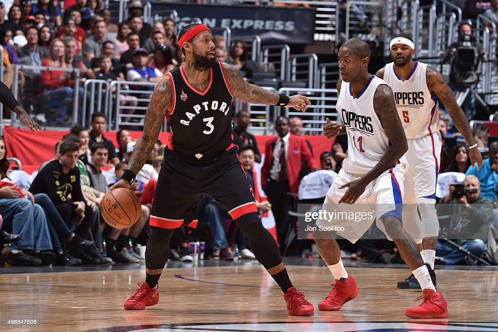 James Johnson #3 of the Toronto Raptors handles the ball against the Los Angeles Clippers at STAPLES Center on November 22, 2015 in Los Angeles, California.