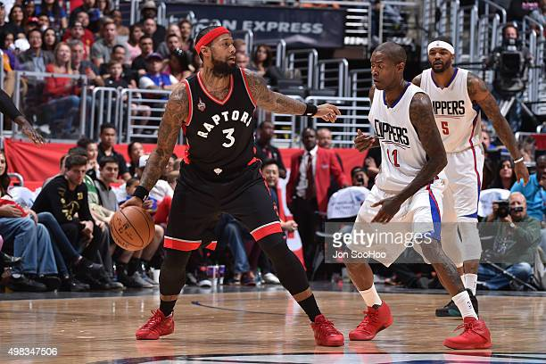 James Johnson of the Toronto Raptors handles the ball against the Los Angeles Clippers at STAPLES Center on November 22 2015 in Los Angeles...