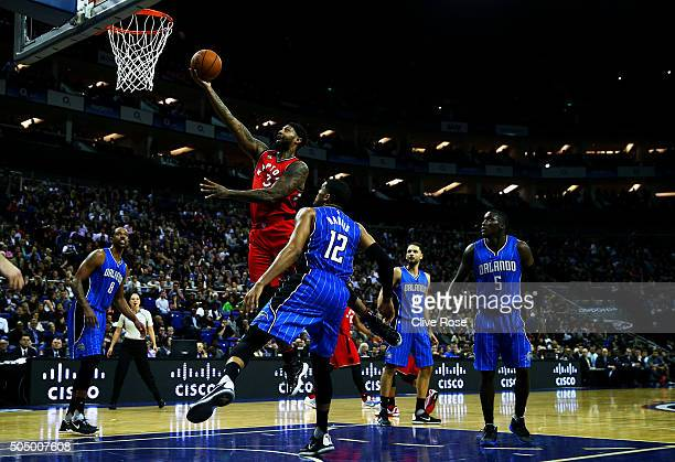 James Johnson of the Toronto Raptors in action during the 2016 NBA Global Games London match between Toronto Raptors and Orlando Magic at The O2...
