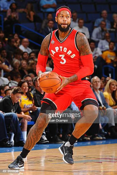 James Johnson of the Toronto Raptors passes the ball against the Los Angeles Lakers during a preseason game on October 08 2015 at Citizens Bank Arena...