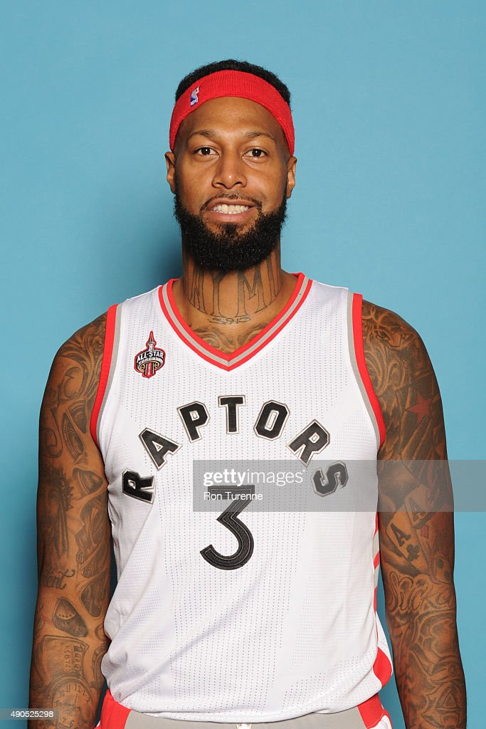 James Johnson #3 of the Toronto Raptors poses for a photo during media day on September 28, at the Air Canada Centre in Toronto, Ontario, Canada.