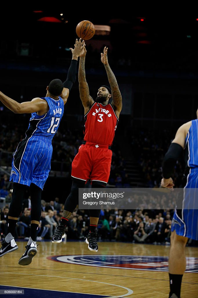 James Johnson #3 of the Toronto Raptors shoots against the Orlando Magic as part of the 2016 Global Games London on January 14, 2016 at The O2 Arena in London, England.