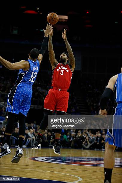 James Johnson of the Toronto Raptors shoots against the Orlando Magic as part of the 2016 Global Games London on January 14 2016 at The O2 Arena in...