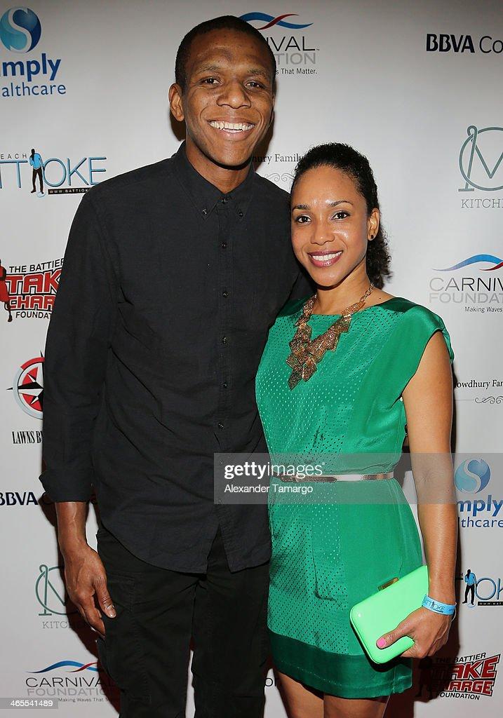 James Jones and Destiny Jones arrive at South Beach Battioke 2014 at Fillmore Miami Beach on January 27, 2014 in Miami Beach, Florida.