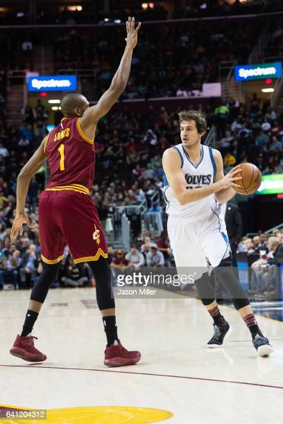 James Jones of the Cleveland Cavaliers attempts to block Nemanja Bjelica of the Minnesota Timberwolves during the first half at Quicken Loans Arena...