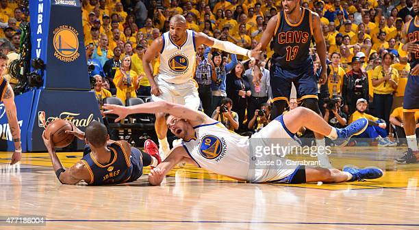 James Jones of the Cleveland Cavaliers goes after the loose ball against the Golden State Warriors at the Oracle Arena During Game five of the 2015...
