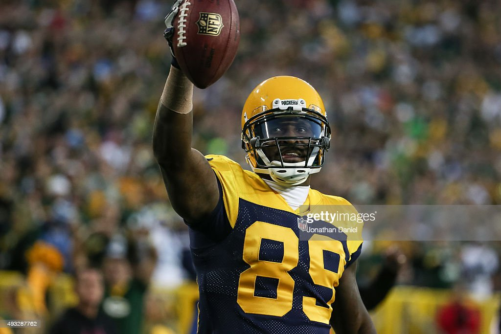 James Jones #89 of the Green Bay Packers celebrates after scoring a touchdown against the San Diego Chargers in the third quarter at Lambeau Field on October 18, 2015 in Green Bay, Wisconsin.