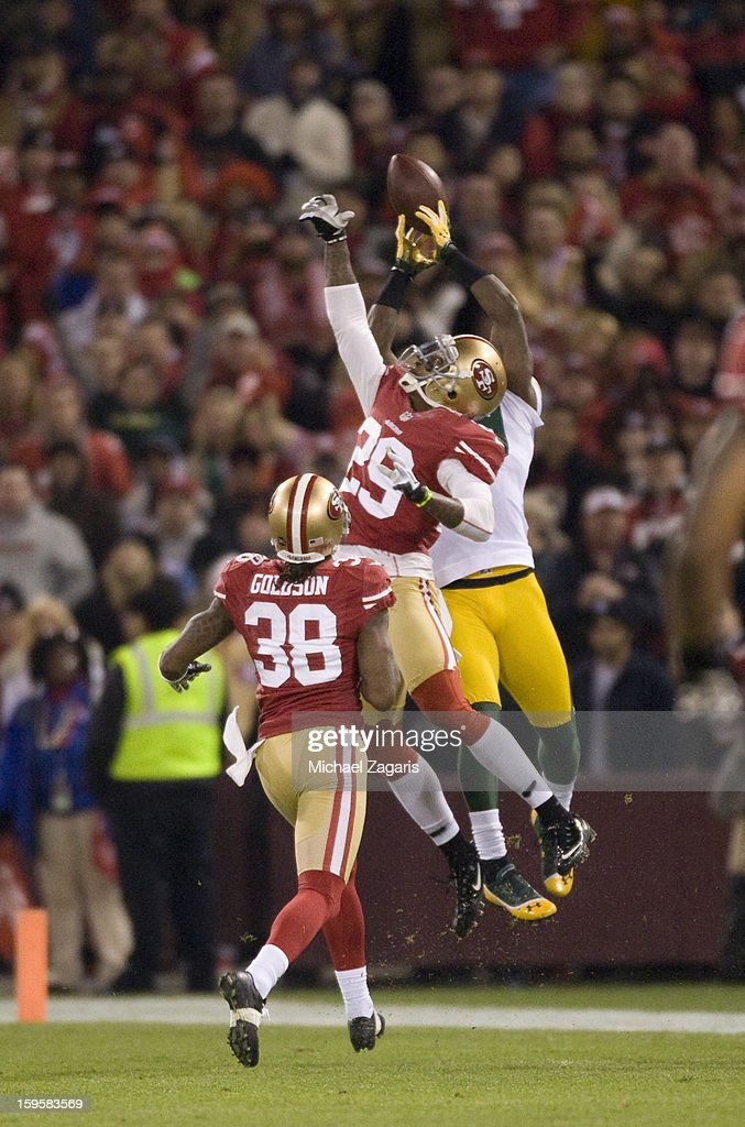 James Jones #89 of the Green Bay Packers makes a reception over Chris Culliver #29 of the San Francisco 49ers during the game at Candlestick Park on January 12, 2012 in San Francisco, California. The 49ers defeated the Packers 45-31.