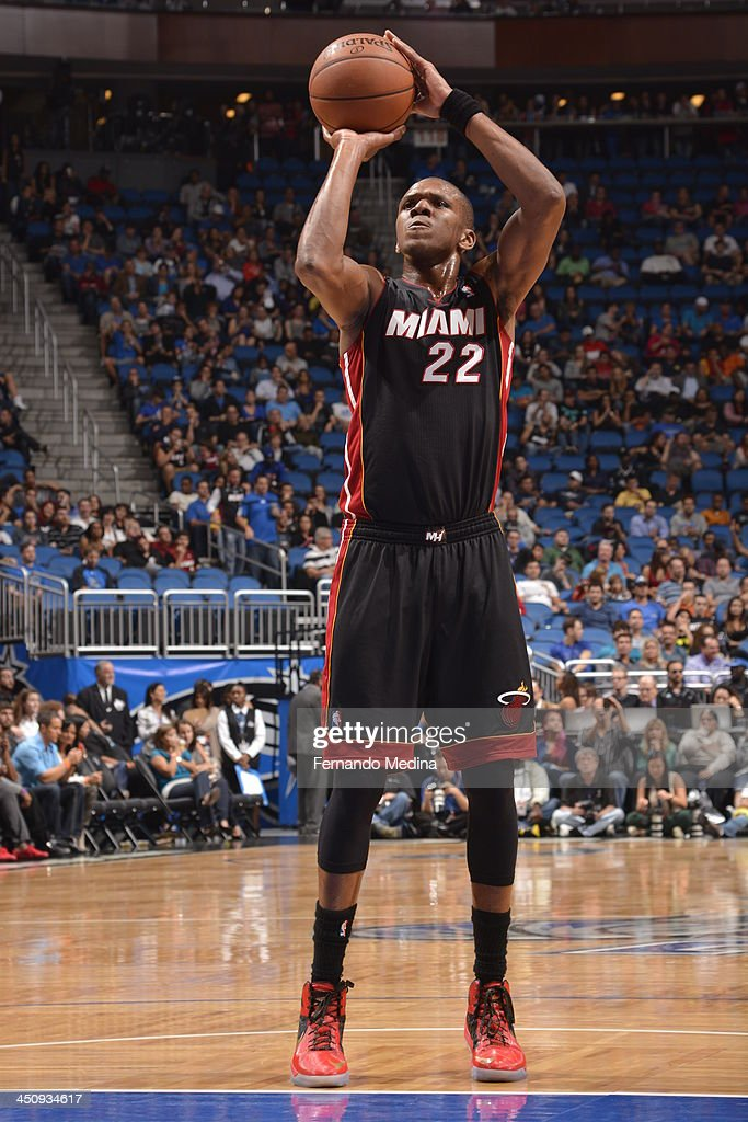 James Jones #22 of the Miami Heat shoots a foul shot against the Orlando Magic during the game on November 20, 2013 at Amway Center in Orlando, Florida.