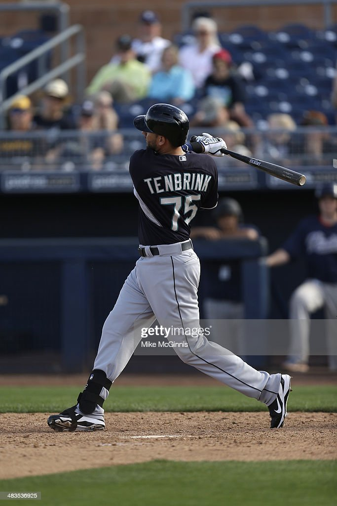 James Jones of the Seattle Mariners gets ready for the next pitch during the game against the San Diego Padres at Peoria Sports Complex on February...