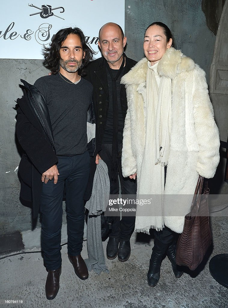 James Kaliardos, John Varvatos and Cecilia Dean pose for a picture as they Celebrate The New JohnVarvatos.com on February 5, 2013 in New York City.