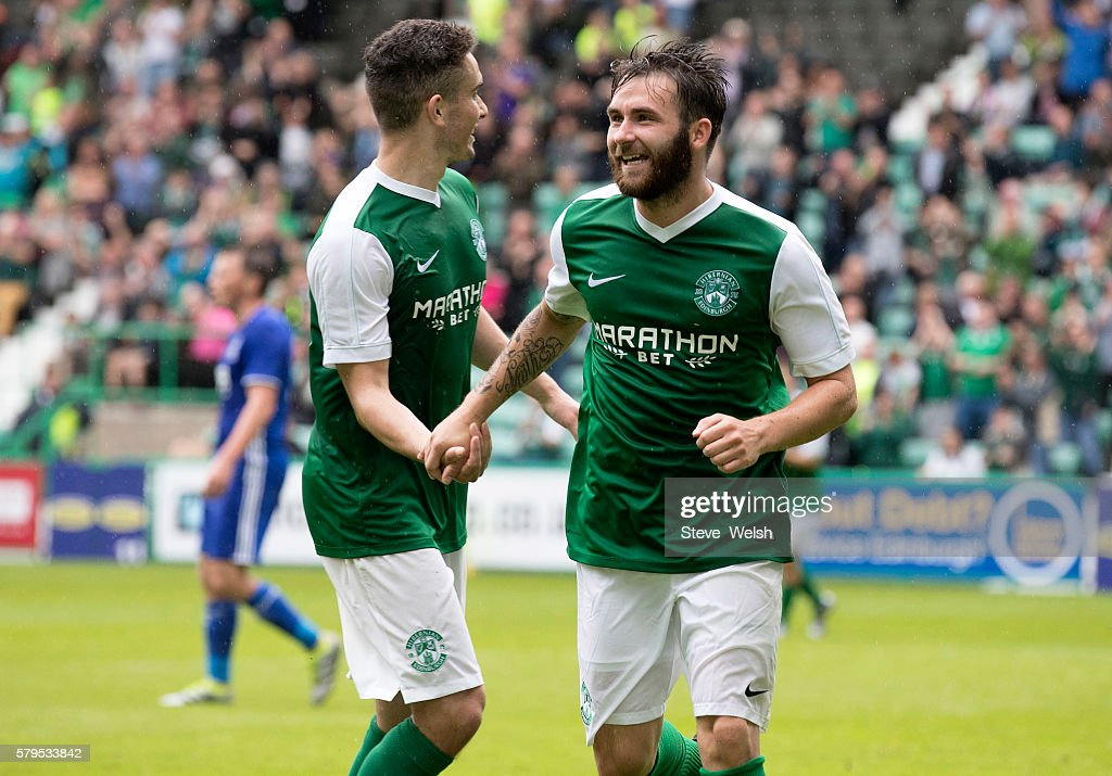 James Keatings of Hibernian celebrates his goal during the Pre-Season Friendly between Hibernian and Birmingham City at Easter Road on July 24, 2016 in Edinburgh, Scotland.